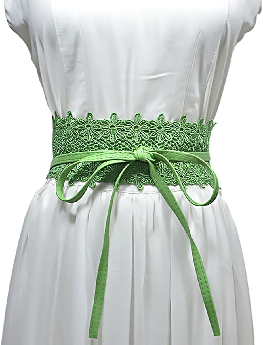 Yellow+Green, Free Womtop Women Waist Obi Belts Lace Belt Soft PU Leather Lace Cover With Tassels Sided Adjustable 2 Pack Dress Belts