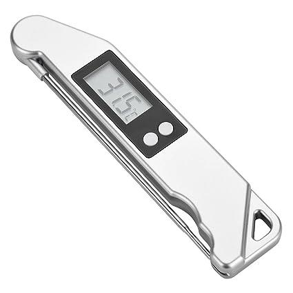 Fdit Termómetro Digital Plegable de Carne LCD Que Cocina Probador del Tempo de Parrilla de BBQ