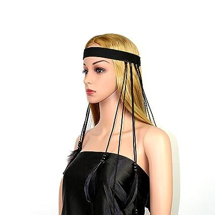 Amazon.com   AWAYTR Feather Headband Indian Headpiece - Bohemian Tassels  Hair Band Headwear For Women Girls (All black)   Beauty e9b053ebbb3f