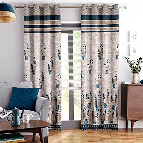 Story@Home Set of 2 Piece Jacquard Multi Eyelet Fancy 5 feet Designer Window Curtains, 60