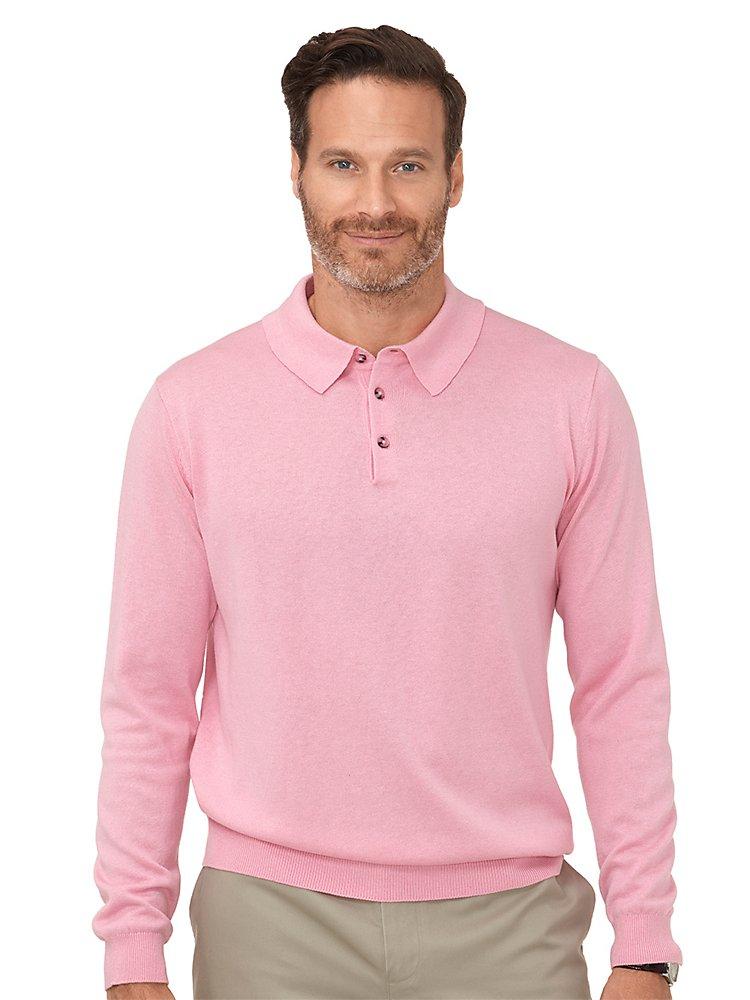 Paul Fredrick Men's Silk, Cotton  Cashmere Polo Sweater Light Pink Large