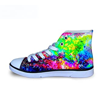 7a45e92c39d Amazon.com  FOR U DESIGNS Fashion Galaxy Print High Top Lace Up Comfy  Lightweight Canvas Shoes for Kids Girls Boys Walking  Shoes