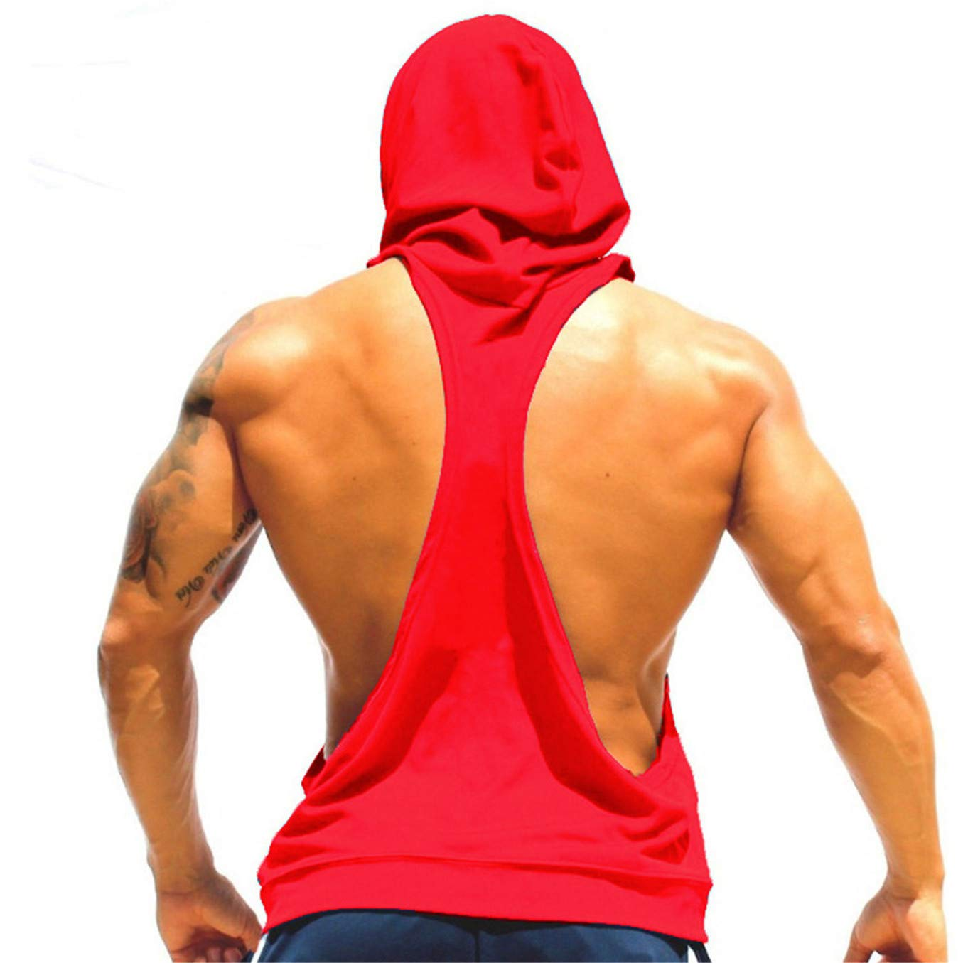 TIFENNY Men Fashion Hooded Vest Sling Running Yoga Gym Fitness Sport Shorts Breathable Sleeveless Tops Red
