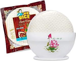 PREMIUM Rice Paper Water Bowl 23cm BONUS 1 Premium Rice Paper Wrappers (340g) - Water Bowl for soaking Rice Paper - making Fresh Spring Rolls