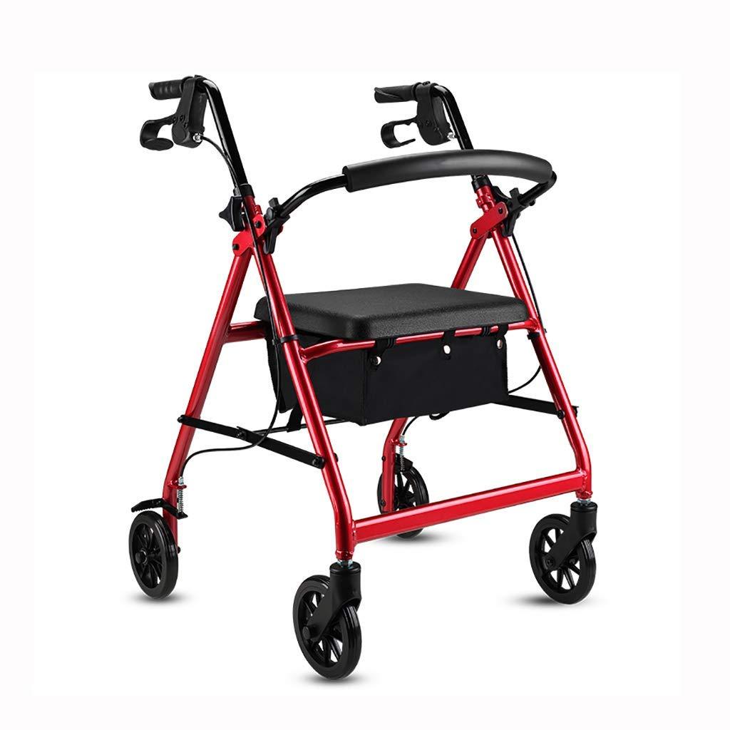 Huikafir Alpenstock Aluminium Faltbare Gehhilfe, Gehhilfe, Rollator, Einkaufswagen mit Sitz und Handbremse, für ältere Menschen (Farbe  ROT) Trekkingstange