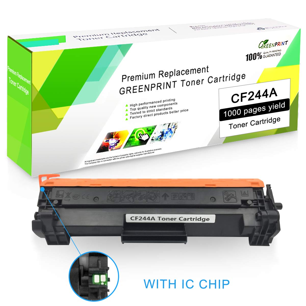 Cartucho de Tóner Compatible CF244A 44A (2 Negro) con Chip GREENPRINT 1000 páginas para Uso en Impresoras láser Color HP Laserjet Pro HP Pro M14 M15a ...