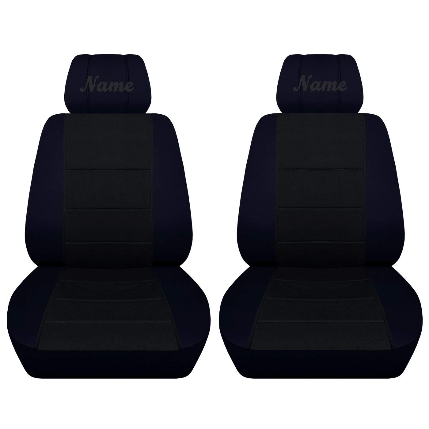 Designcovers Truck Seat Covers Fits 2007 to 2013 Chevy Silverado Bucket Seats Covers with Your Choice of Name 22 Color Options (Navy Blue Black, No Side Airbags)