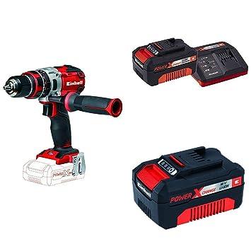 Kit Einhell Expert TE-CD 18 Li-i - Taladro percutor sin cable (sin batería, 18 V, 2 velocidades, 60 Nm, luz LED, Power-X-Change) rojo con 2 baterías y ...