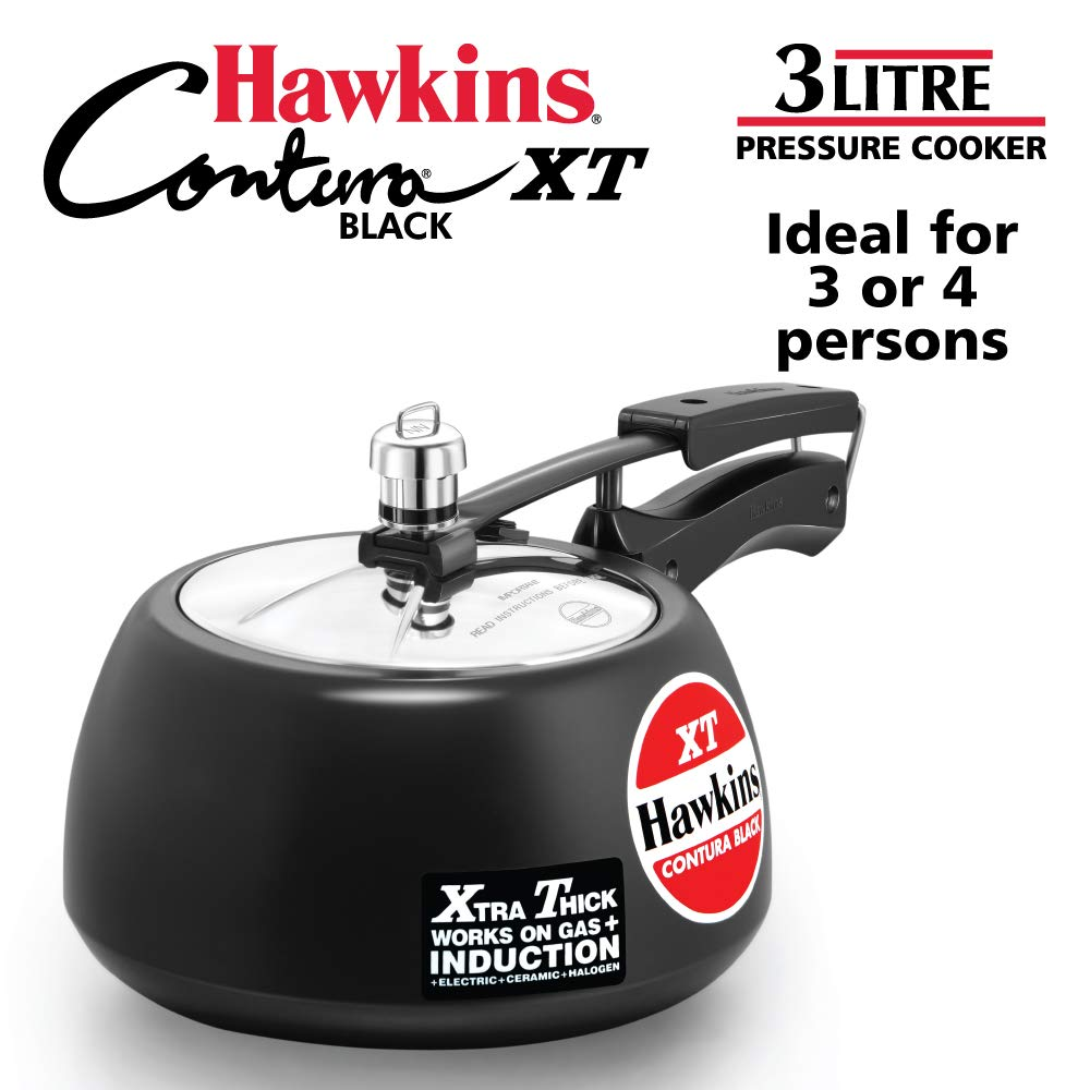 Hawkins CXT30 Contura Hard Anodized Induction Compatible Extra Thick Base Pressure Cooker, Black, 3L, 3 L,