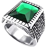Konov Jewellery Mens Crystal Stainless Steel Ring, Classic Gothic Signet, Color Green Silver (with Gift Bag)