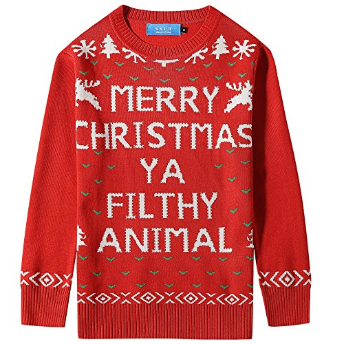 Nylon Kids Pullover - SSLR Big Boys' Funny Xmas Pullover Crewneck Ugly Christmas Sweater (Large (14-16), Red)