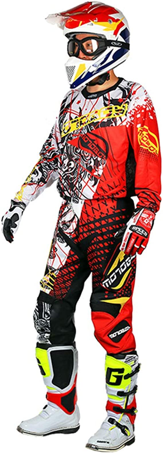 MOTO-BOY Motorcycle Off-Road Racing Suits,2019 Breathable Mesh Leather Jersey and Pants for Men
