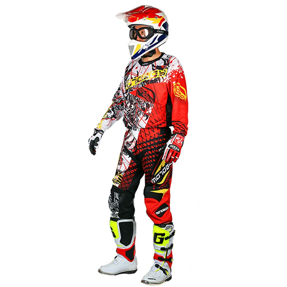 MOTO-BOY Motorcycle Off-Road Racing Suits,2019 Breathable Mesh Leather Jersey and Pants for Men from (M, Red)