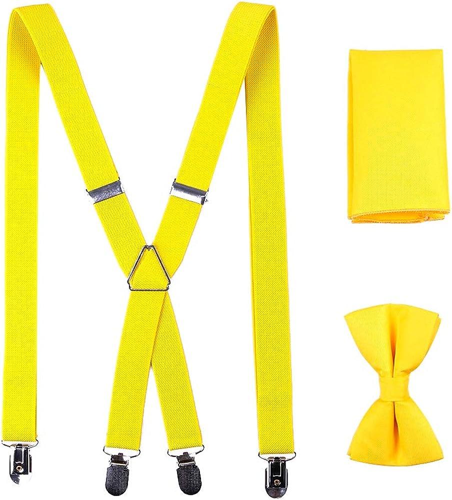 AAGOOD Los Hombres Accesorio de Vestir de Moda Color Puro Correas Ajustables de la Pajarita del pañuelo Kit Multi Función Clips Tirantes Ropa Formal de Accesorios 1 Juego Estilo Bd003-c