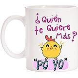 MardeTé Taza ¿Quién te Quiere más? Po Yo. Divertida Taza con la Frase del Pollo Famosa. Taza de Amor para Enamorados…