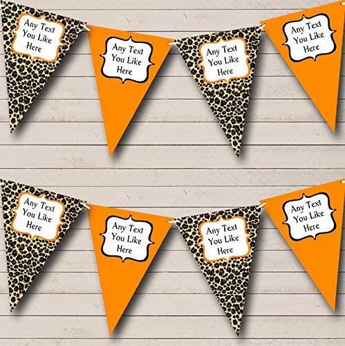 Leopard Print And Orange Personalized Birthday Party Bunting Banner Garland ()