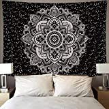 BLEUM CADE Mandala Tapestry Wall Hanging Black & Gray Wall Art Floral Decorative for Bedroom Living Room 51x59 Inches