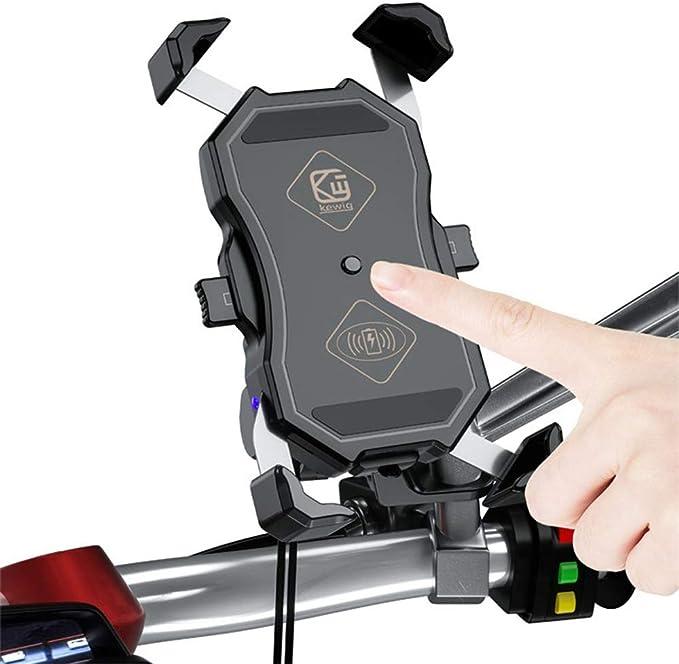 Myyingele Handy Halterung Für Motorrad Mit Ladefunktion Charger Wireless Motorrad Handyhalterung Für Kabelloses Laden Für Motorrad 7 5w 10w 15w Wireless Charger Küche Haushalt
