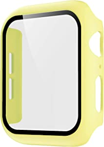 Pokanic Compatible with Apple Watch SE 6 5 4 3 2 1 Series iWatch 9H Tempered Glass Case Full Body Screen Protector Cover Wireless Charge Light Weight Scratch Resistant Proof (Yellow, 38mm)