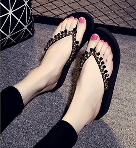 talón inferior Zapatillas los Flops 38 Sandalias Ajunr Pinzar Antideslizante Cordones 36 pies elegante Flip Simple del Transpirable Espesor Playas Moda pendiente 4cm Negro qnXSwPxH