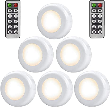 Alitade Puck Lights With Remote Control 6 Pack Led Under Cabinet Lighting 4000k Stick On Lights Led Closet Light Wireless Touch Light Battery Powered Night Lights For Kitchen Counter Stairs Amazon Com