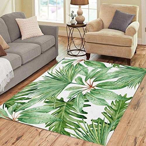 Semtomn Area Rug 5' X 7' Green Tropical Leaves Palm Dense Jungle Hand Watercolor Pattern Home Decor Collection Floor Rugs Carpet for Living Room Bedroom Dining Room