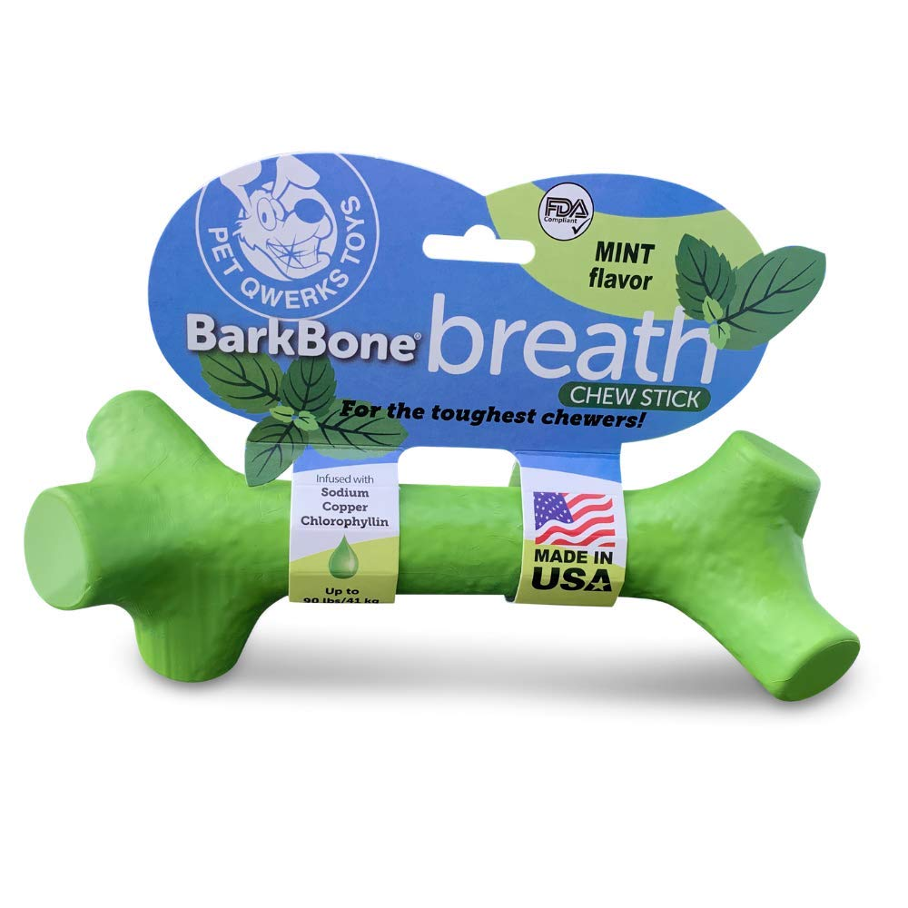 Pet Qwerks Barkbone Breath Dental Chew Stick with Mint Flavor for Aggressive Chewer Dogs, Made in USA