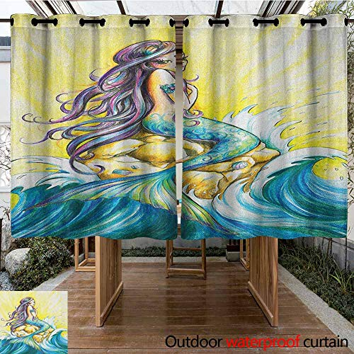 - AndyTours Outdoor Grommet Window Curtain,Mermaid,Magical Mermaid Sitting on Rock Sunny Day Colored Pencil Drawing Effect,for Patio/Front Porch,K183C183 Yellow Blue Purple