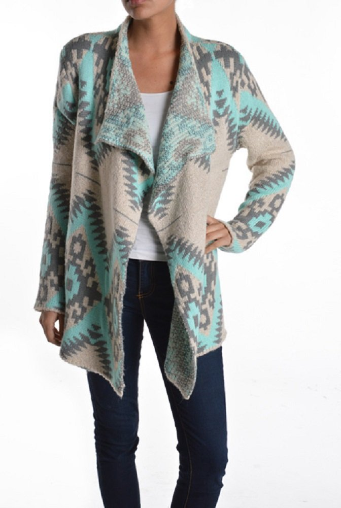 ReneeC. Women's Mint Aztec Print Open Front Chunky Cardigan Sweater Knit (X-Large, Mint)
