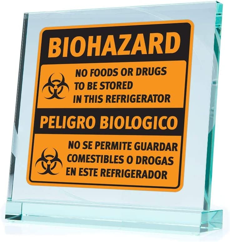 Decals Decal Biohazard No Foods Or Drugs to Be Stored in This Refriger (7 X 6.72 Inches)