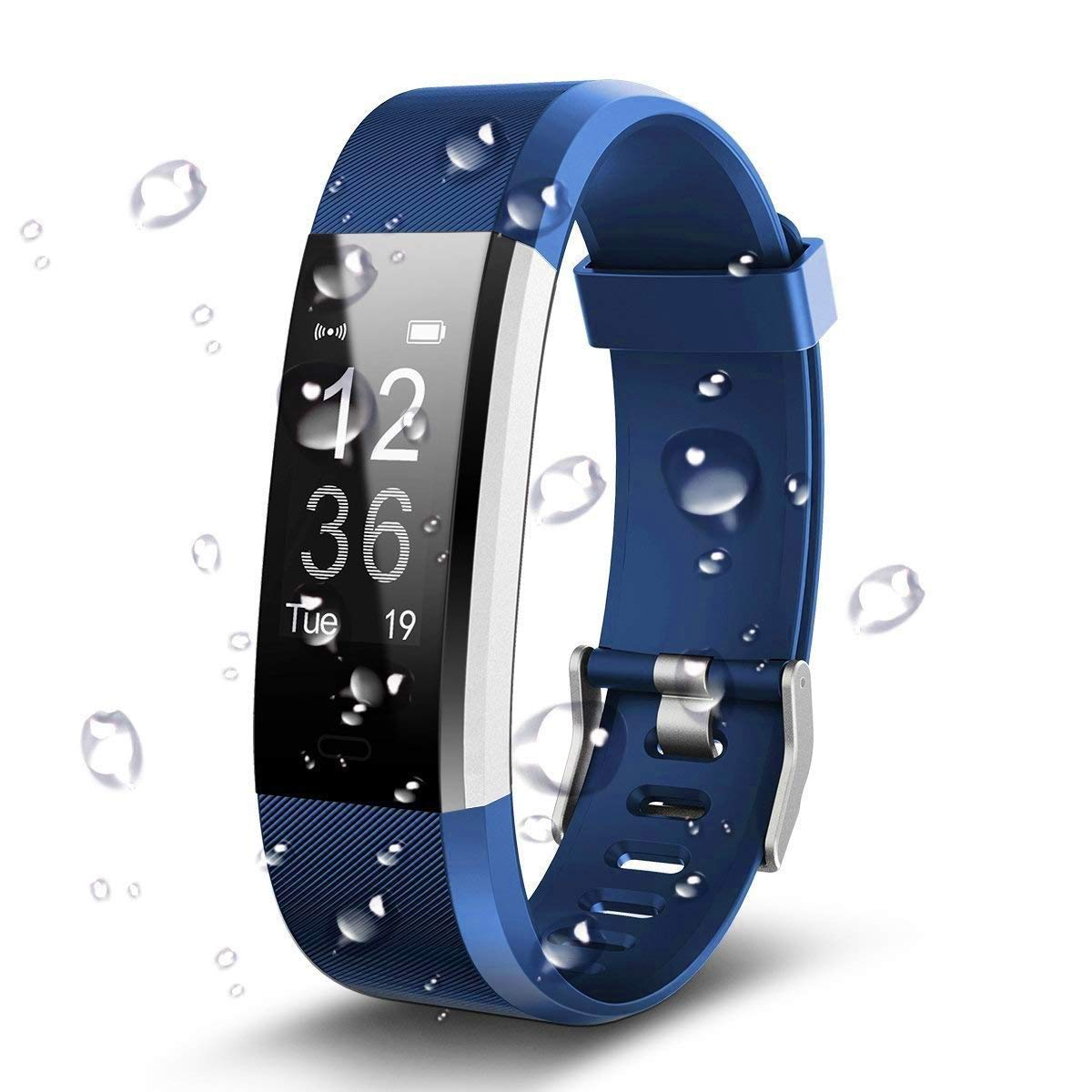 Antimi Fitness Armband, Wasserdicht IP67 Fitness Tracker, Pulsuhren, Schrittzähler, Kamerasteuerung, Vibrationsalarm Anruf SMS Whatsapp Beachten kompatibel mit iPhone Android Handy Schrittzähler Antimi-115P