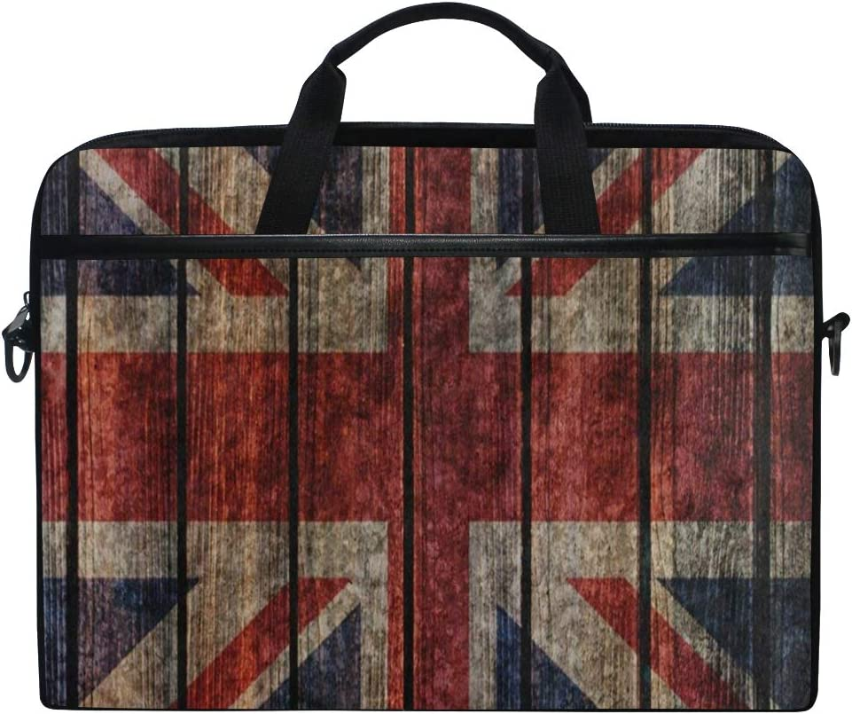 Laptop Sleeve Case,Watercolor Wooden British Flag 14-14.5 inch Briefcase Messenger Notebook Computer Bag