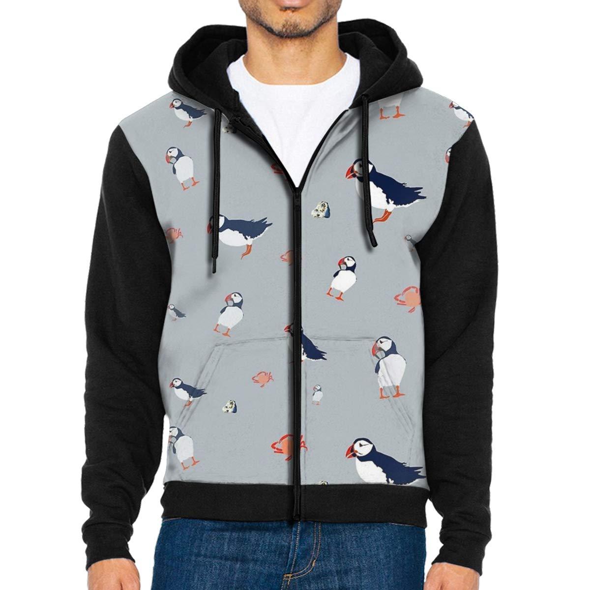 LXP FZD Mens Puffins Pattern Fashion Hoodies Cool Jacket Print Zipper Sweatshirts Fleece