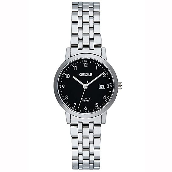 Kienzle KIENZLE KLASSIK - Reloj analógico de mujer de cuarzo con correa de acero inoxidable blanca