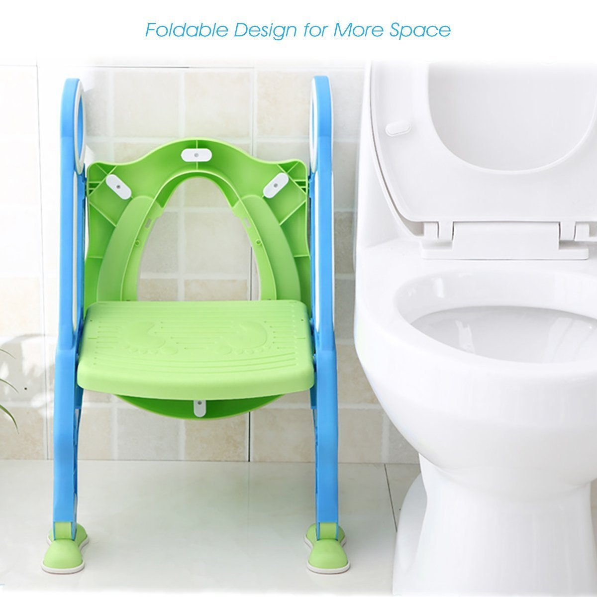 Mangohood Potty Training Toilet Seat with Step Stool Ladder for Boy and Girl Baby Toddler Kid Children's Toilet Training Seat Chair with Soft Padded Seat and Sturdy Non-Slip Wide Step (Blue Green) by Mangohood (Image #5)