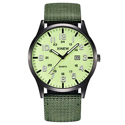 XBKPLO Quartz Watches Mens Fashion Waterproof Analog Wrist Watch Calendar Window Luminous Nylon Strap Business Watch