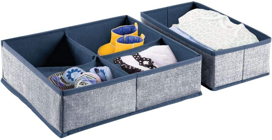 mDesign Soft Fabric Dresser Drawer and Closet Storage Organizer Set for Child/Kids Room, Nursery, Playroom - 2 Pack, 5 Compartments - Textured Print - Navy Blue