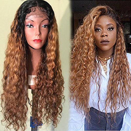 Lace Front Human Hair Wigs 8A Pre Plucked Deep Wave Curl Full Lace Human Hair Wigs Ombre Blond Color For Black Women (22'', lace frontal wig) by Dream Beauty
