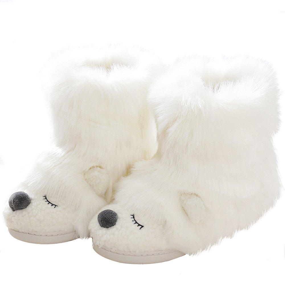 Warm Fleece Sheep Bootie | Funny Stuffed Animal Slippers | Women Indoor Outdoor Home Slippers | Anti-Slip Memory Foam Sole (5-6.5 B(M) US, White Bear)