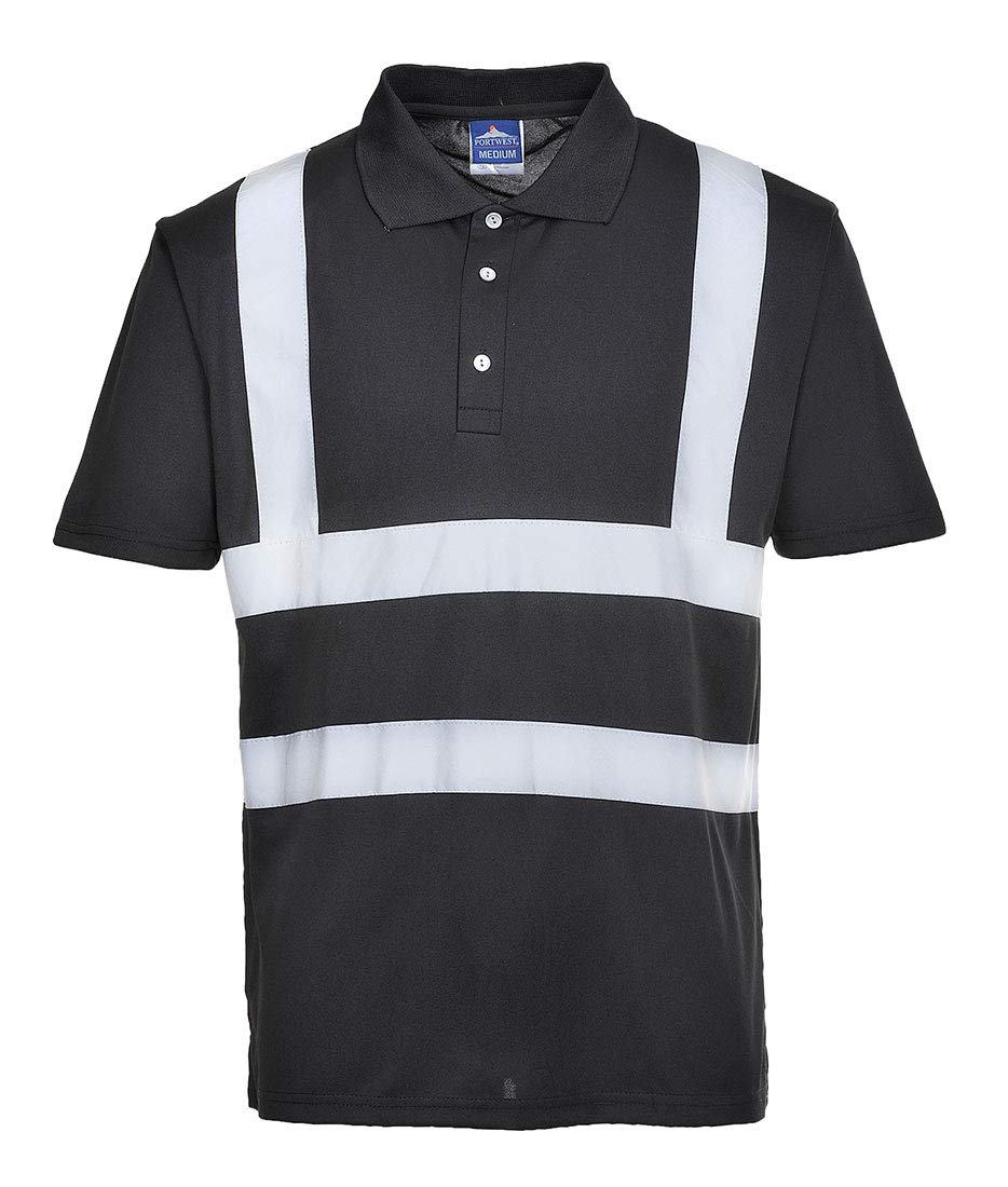 Portwest Iona Polo Shirt Hi Vis Visibility Reflective Short Sleeve Work Wear Top, Black, 6XL