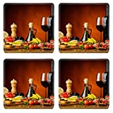 Luxlady Natural Rubber Square Coasters IMAGE ID: 26093093 still life with traditional spanish tapas and red wine