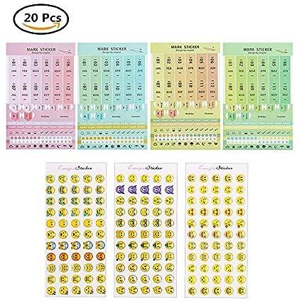 8 hojas/de papel adhesivo PVC mensuales índice separadores ...