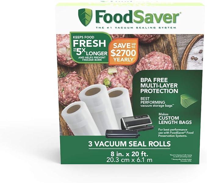 Amazon.com: גלילי איטום בוואקום FoodSaver בעל מבנה רב-שכבתי ללא BPA לשימור מזון: Kitchen & Dining
