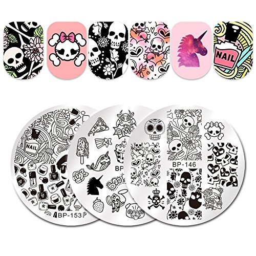 BORN PRETTY 3Pcs Nail Art Stamping Plate Halloween Skull Flower Summer Manicure Image Plate DIY Nail Print -