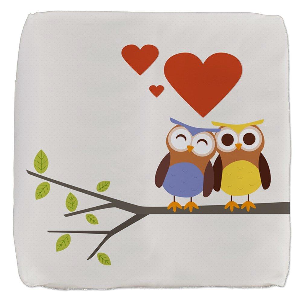13 Inch 6-Sided Cube Ottoman Owl Love