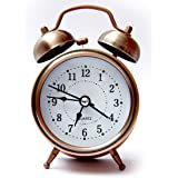 Rise N Shine Classic Vintage Look Copper Table Alarm Clock Beep With Night Led Light