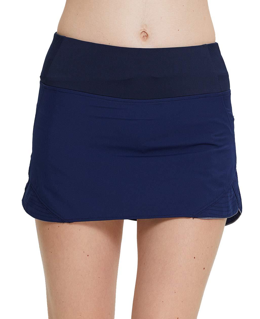 UDIY Women's Active Athletic Skort with Inner Pockets for Running Tennis Golf Badminton Workout, Navy