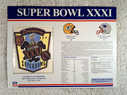 (Super Bowl XXXI (1997) - Official NFL Super Bowl Patch with complete Statistics Card - Green Bay Packers vs New England Patriots - Desmond Howard MVP)