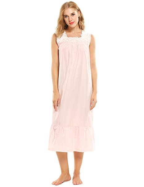 Ekouaer - Pijama - Básico - Cuello Cuadrado - Sin Mangas - para Mujer Rose FR