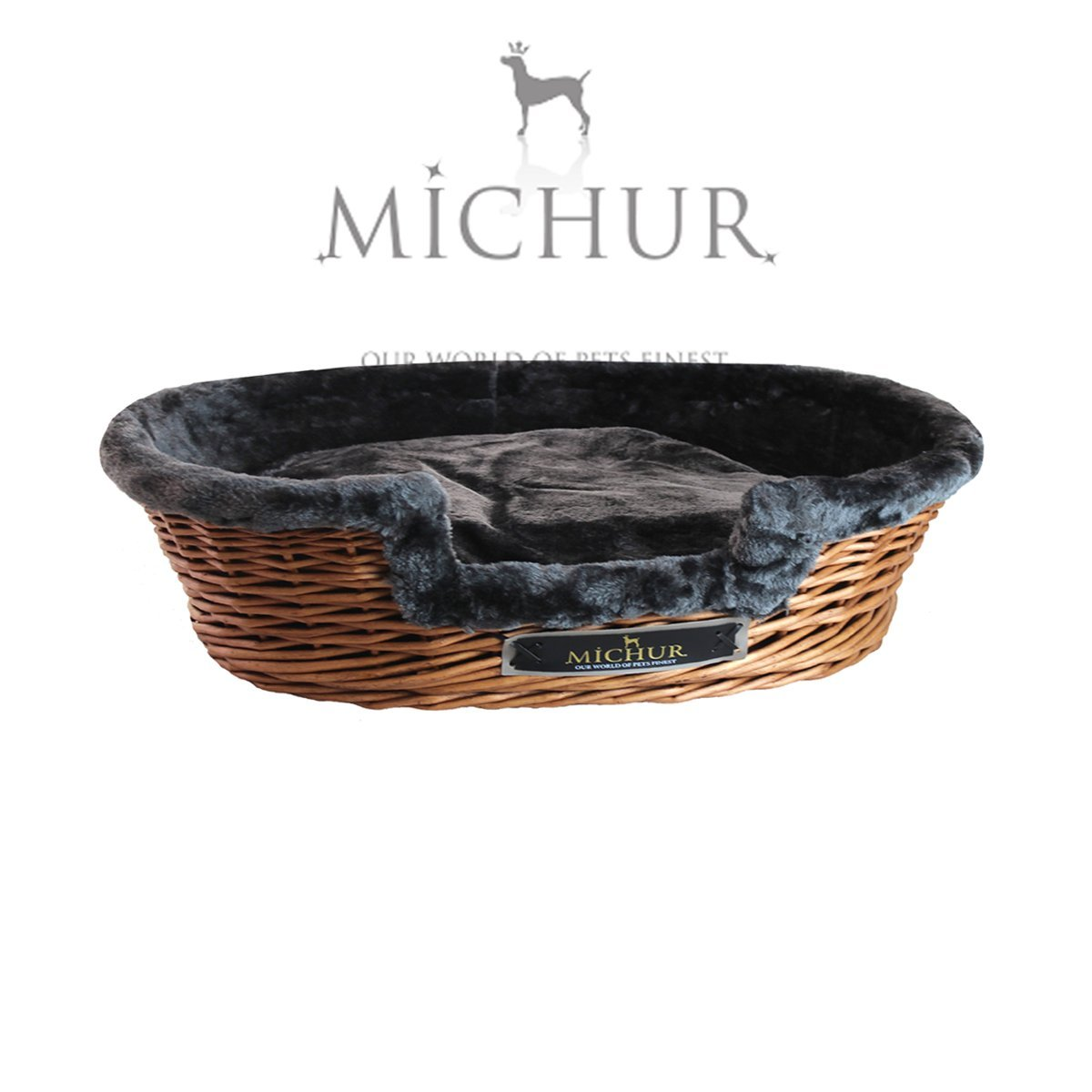 (approx.)  31.50\ MICHUR LUMPI TOBACCO, dog bed, dog basket, cat bed willow, dog basket rattan, cat basket, willow, rattan, TOBACCO